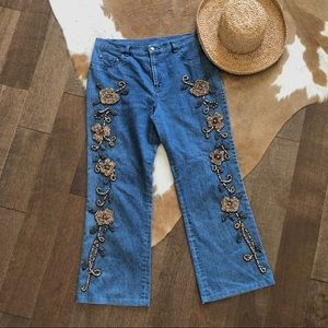 Vintage wood beaded jeans; size 10; Simon Chang